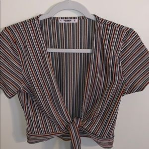 Pull & Bear Cropped Striped Shirt